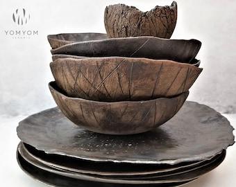 Ceramic Dinnerware Sets, Modern Dinner Set, Rustic Stoneware Dish Set, Unique Reactive Glaze Dinner Set, Organic Dinnerware