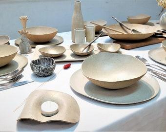 Full Christmas Dinnerware Set of 55 Pieces, White Ceramic Dinnerware Set for 8, Christmas Tableware, Christmas Dinner Set, Christmas Dishes