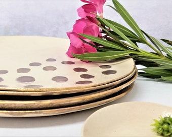 Beige Polka Dots Contemporary Dinner Plate, Pottery Lightweight Plate, Pretty Clay Dinnerware, Bohemian Ceramic Plate, Handmade Rustic Plate