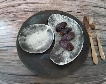 Gray Dinnerware Set, Ceramic Dinnerware, Organic Rustic Plates Set, Handmade Pottery Dinnerware, Artisan Dinnerware, Modern Dinner Sets