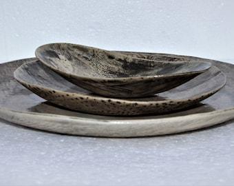 Gray Ceramic Dinnerware Set, Unique Stoneware Dinner Plates, Rustic Restaurant Plates, Pottery Dish Set, Holiday Gift, Housewarming Gift