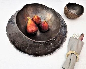 Rustic Dinner Set, Unique Stoneware Dish Set, Rustic Ceramic Dinnerware, Modern Ceramic Dinner Plates Set, Unique Dinnerware Set