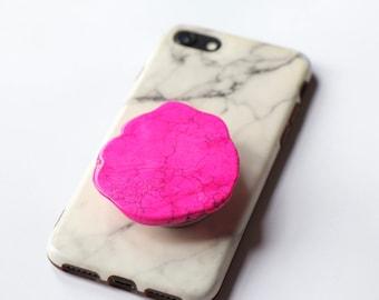 Gemstone Pop Socket Gift for Her Gift Idea Pink Color Gemstone Phone Grip Pop Socket Onyx Slice Phone Stand