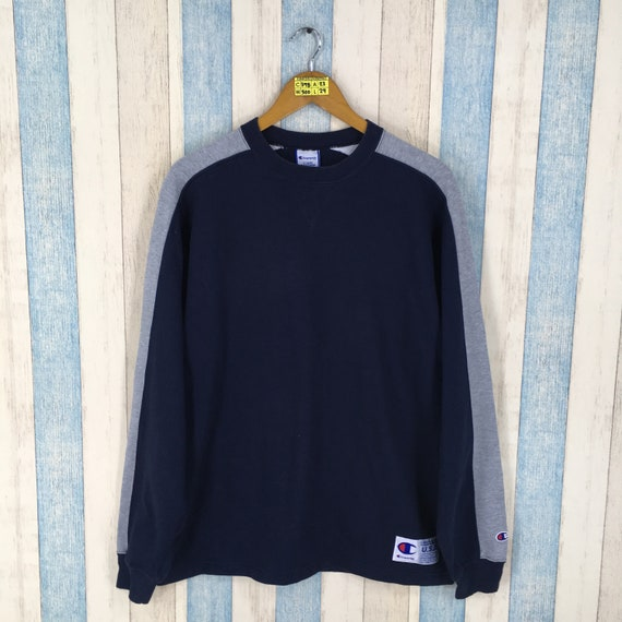 Champion Products Sweater Unisex Large Blue Vintag