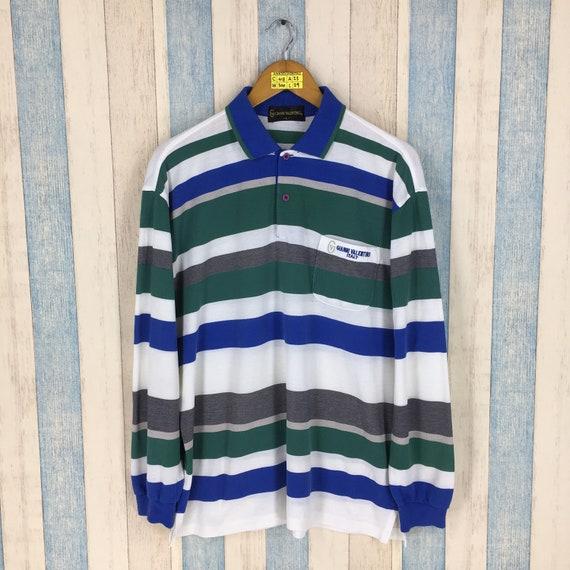 Gianni Valentino Polo Shirt Striped Large Vintage
