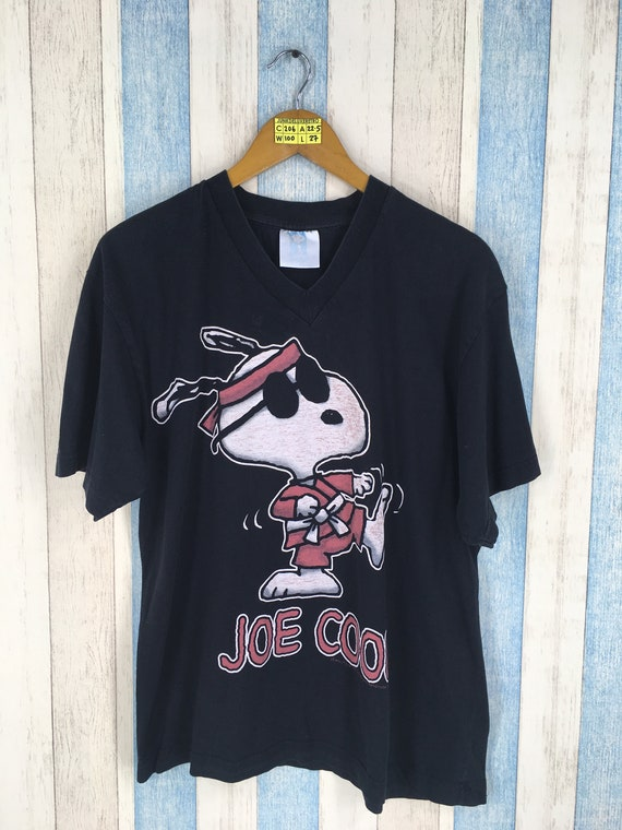 Snoopy Joe Cool Tshirt Peanuts Medium Black Vintag