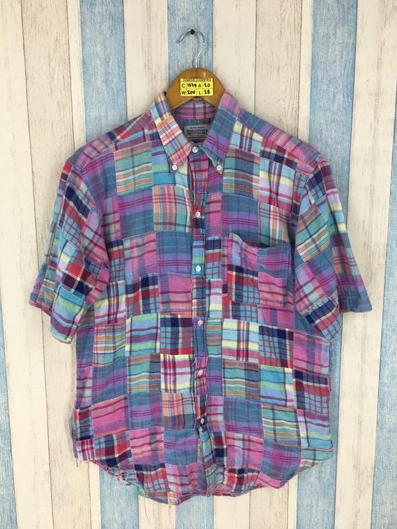 Vintage  Patchwork Checkered Flannel Shirt Medium