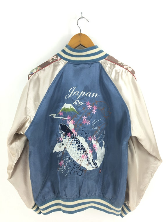 Vintage Fish Sukajan Jacket Large Sukajan Koi Fish