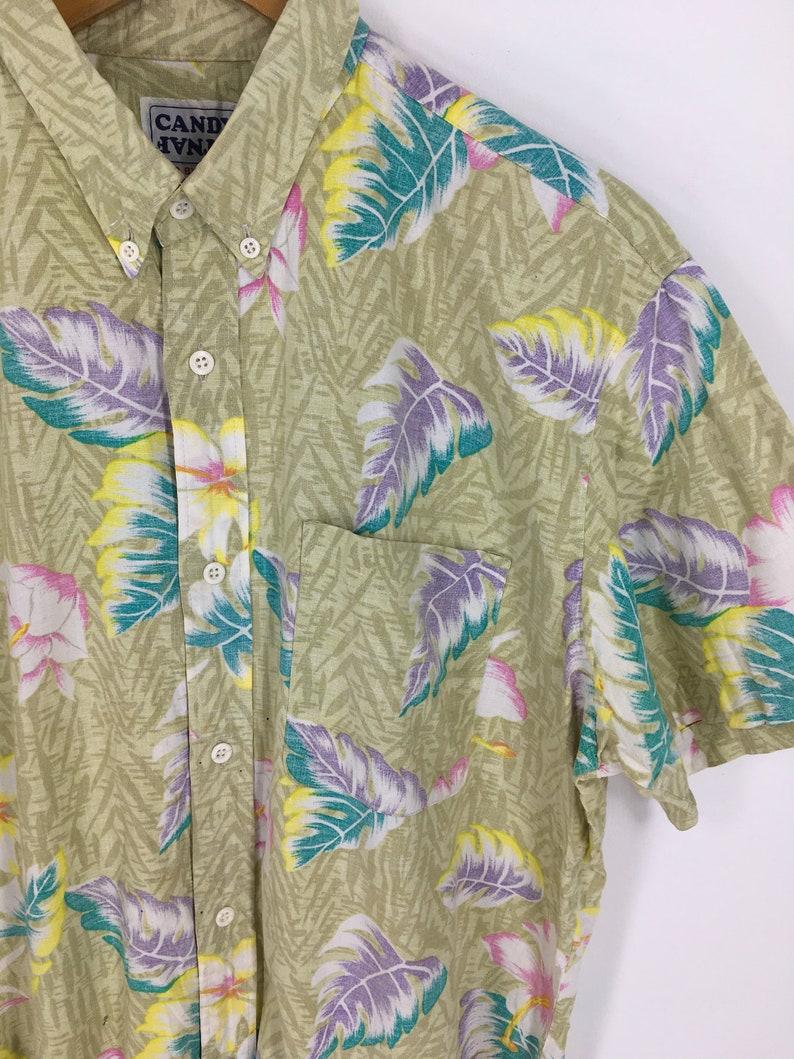 Vintage Candy Fantasy Aloha Shirt Medium 1990s Leaves Floral Hawaiian Shirt Flower Tropical Cotton Shirt Men Buttondown Size M