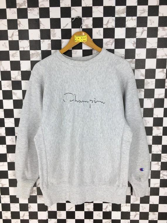Champion Reverse Weave Sweatshirt Large Gray Vinta