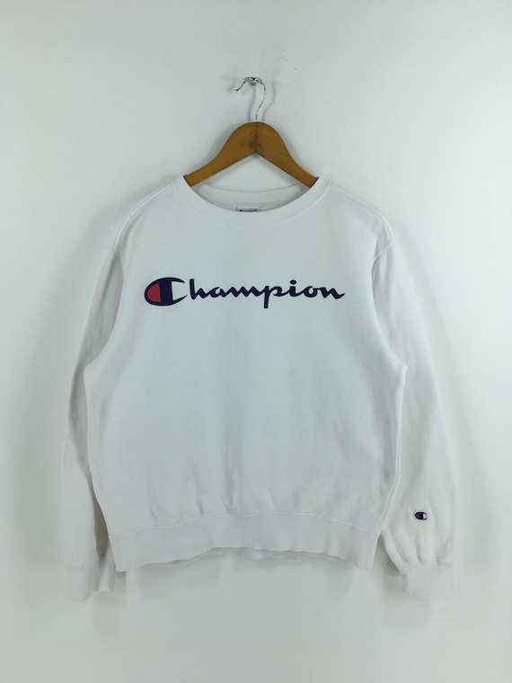 Champion Script Logo White Jumper Medium Vintage 9