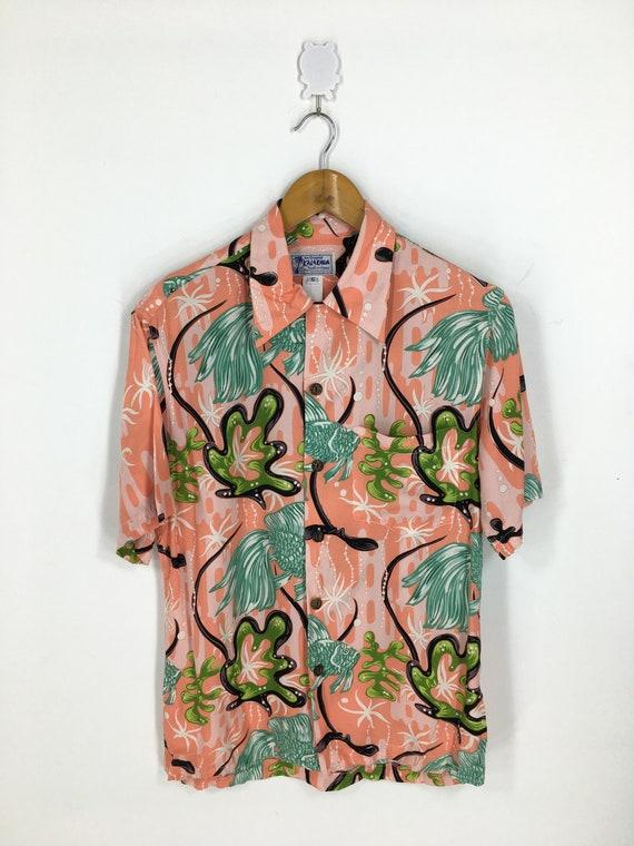 Vintage corduroy 80s printed dress Koi fish