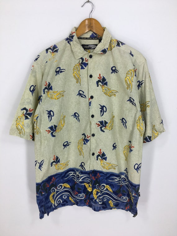 Hawaiian Shirt Men Large Vintage 80s Coconut Tree Honolulu Sailing Yacht Hawaii Rockabilly Aloha Hawaiian Beach Cotton Buttondown Size L