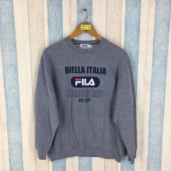 Vintage Fila Jumper Sweater Large Gray Fila Biella