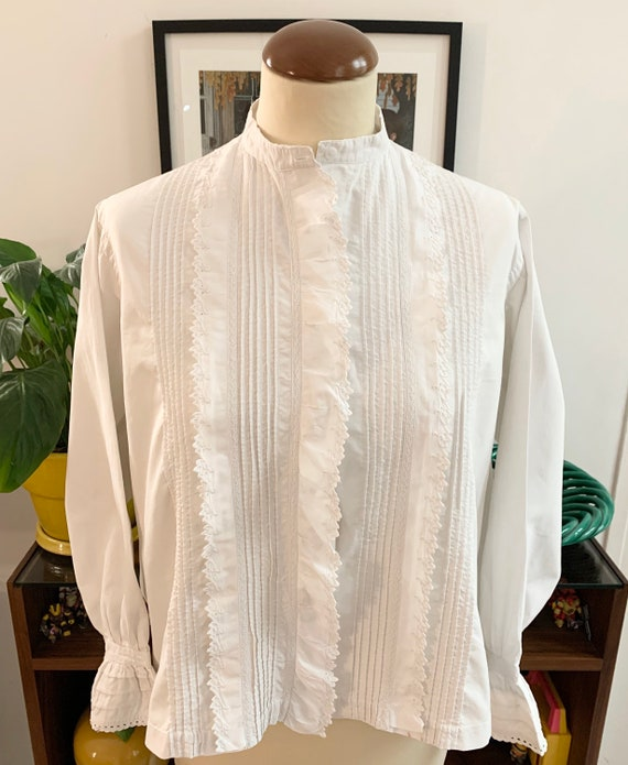 French antique white blouse white cotton lace embr
