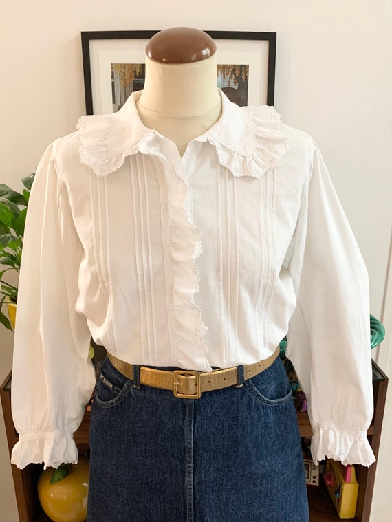 French antique blouse white cotton large collar ro