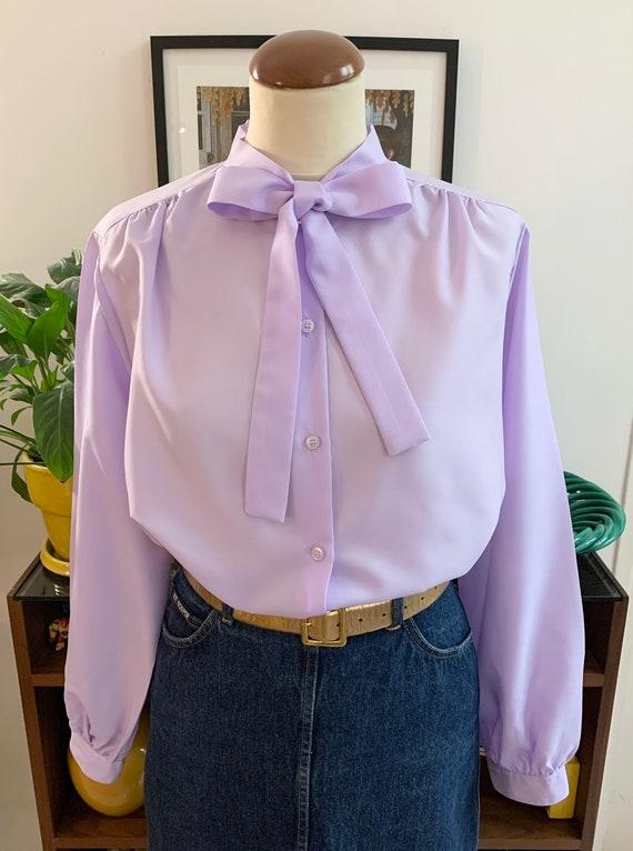 Vintage blouse Bow tie purple mauve lila pastel bc