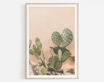 Cactus Print, Cactus Wall Art, Desert Architecture Printable Wall Art, Boho Cactus Print, Vintage Pastel Desert Art, Desert Digital Download