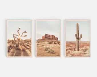 Desert Wall Art, Desert Printable Wall Gallery, Arizona Desert Landscape, Saguaro Cactus Print, Joshua Tree Wall Art, Digital Download