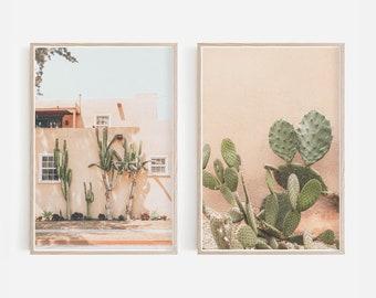 Cactus Wall Art, Boho Desert Printable Wall Art, Boho Cactus Print Set, Vintage Pastel Desert Art, Cactus Wall Gallery, Digital Download