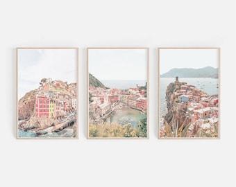 Cinque Terre Print Set, Cinque Terre Wall Art, Italy Print Wall Art, Manarola Printable Wall Art, Vernazza Italy Photo Art, Digital download