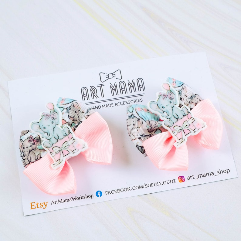 Elephant pink hair bow Girls hair clip with Elephant Holiday pigtails hair bow Piggies bow set Hair Clip Set for infant