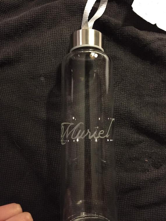 Hand-engraved borosilicate glass bottle