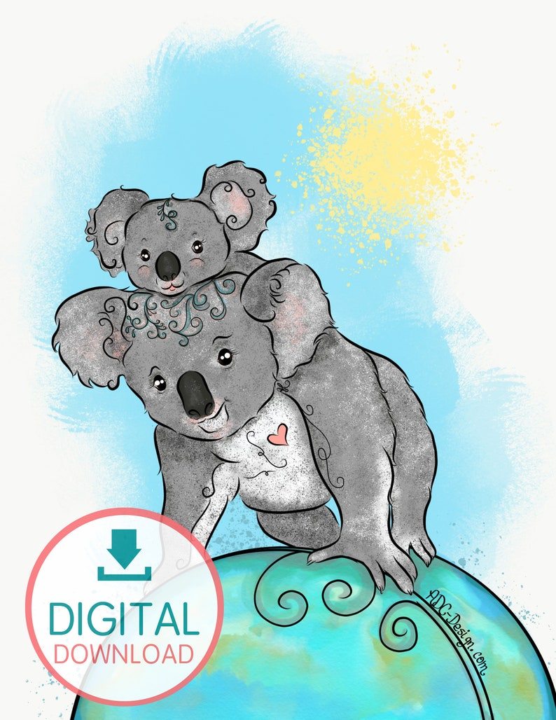Mom and Baby Koala. Wallpaper for Tablet mobile device or image 0