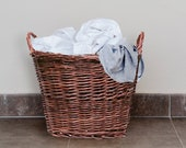 Large Brown Natural Woven Wicker Laundry Log Carry Basket with Ears, 50cm