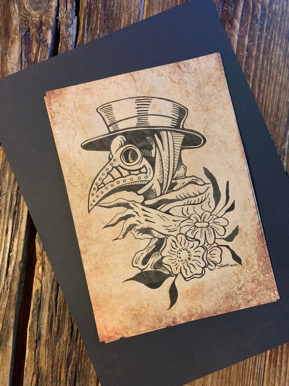 Plague doctor tattoo flash style drawing on Antique Paper