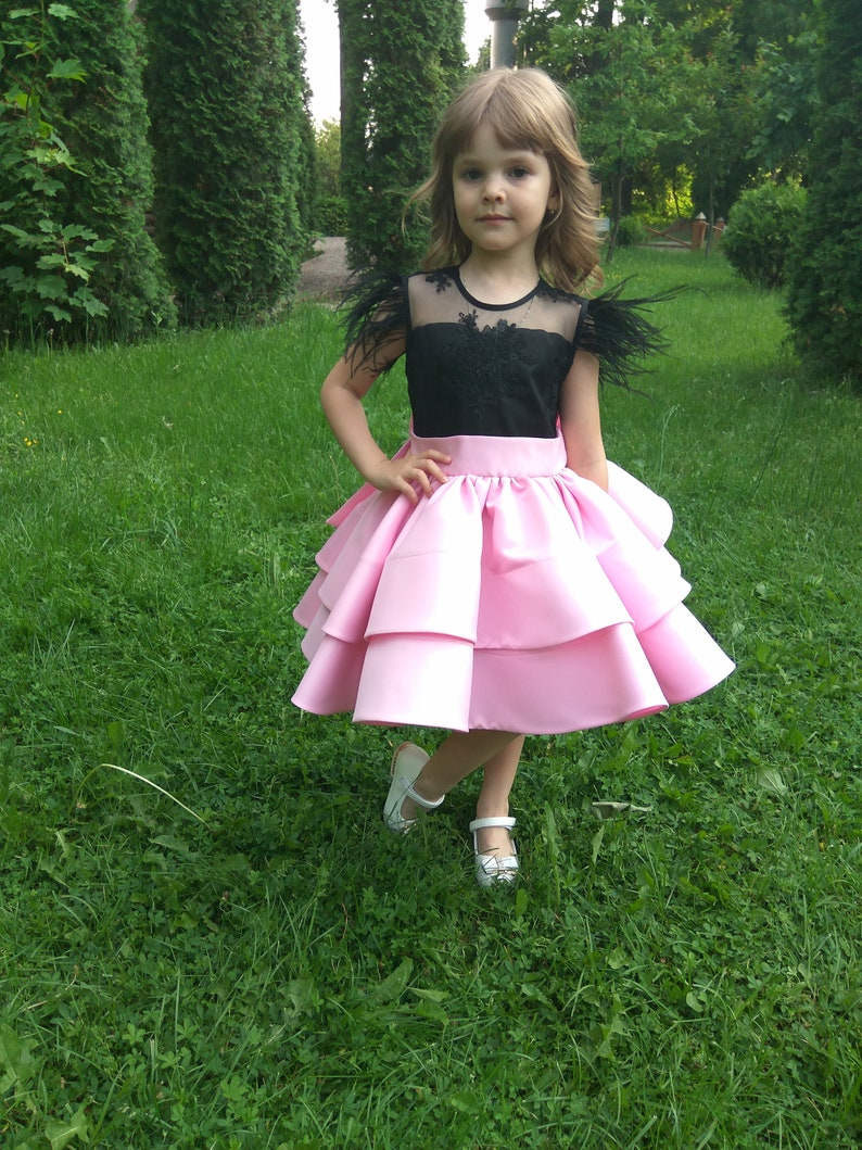 Pink and Black Elegant Dress,Knee Length Gown for Baby Birthday Party,Wedding Party Dress for Girl