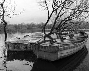 Black and White Photograph Ireland, two boats on an Irish river, River Black Water