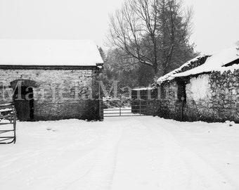 Black and White Photograph Ireland, Irish Farm, Irish farm sheds, County Waterford