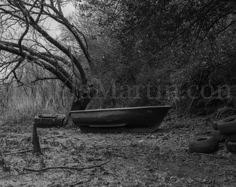 Black and White Photograph Irish Boat in Low Tide, The River Blackwater, County Waterford