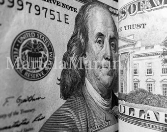 Photograph of United States One Hundred Dollar Bill, photograph of american money, Ben Franklin