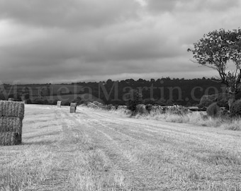 Black and white photograph Haystack in Ireland, Irish Field, Irish Haystack, Irish farm, Autumn Harvest