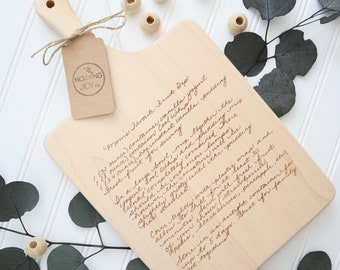 Recipe Cutting Board | Custom Engraved Cutting Board Keepsake | Handwritten Recipe