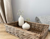 Wicker Tray Antique wash Storage Country Storage basket Home decor rustic homely Scandi