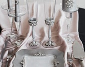 Silver wedding cake server set and knife with Wedding glasses Wedding plate and personalized wedding forks Toasting flutes Unity candle set