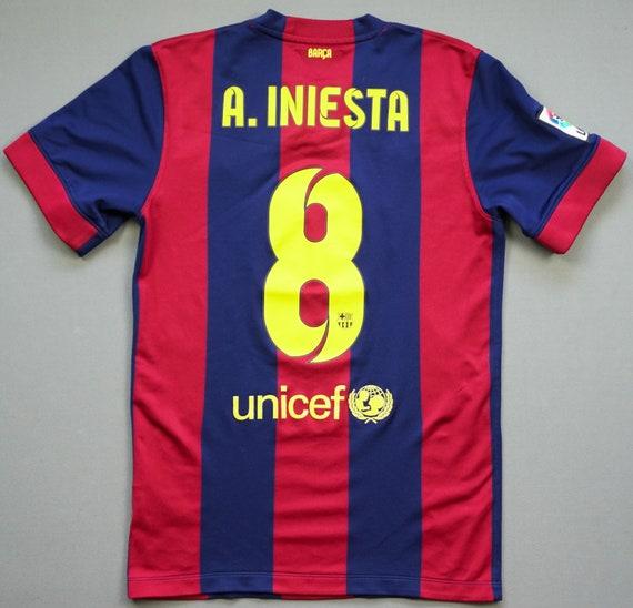 fc barcelona 2014 2015 s home iniesta treble jersey football etsy etsy