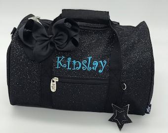 12 inch Glitter Dance Bag | Black Mini Duffel Bag | Personalized Dance Bag for Preschool Girls | Cheer Duffle with Strap Kids Overnight Bag