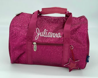 12 inch Glitter Dance Bag | Pink Mini Duffel Bag | Personalized Dance Bag for Preschool Girls | Cheer Duffle with Strap Kids Overnight Bag
