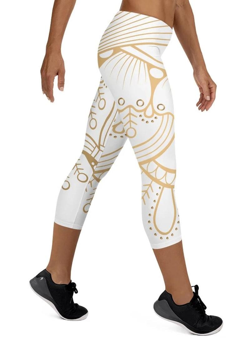 Golden Mandala Capri Leggings