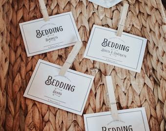 BEDDING~Full Set Label Home Organization, House Storage Dyi, bedroom, Linen Closet, Laundry Room Labels, Digital Paper, Decor, Printable PDF