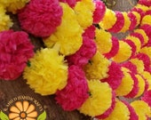 5 piece set RED and Yellow Marigold Garland Flowers. Fresh look Artificial Blossom Indian Torans. The Perfect Indian Party Decor item