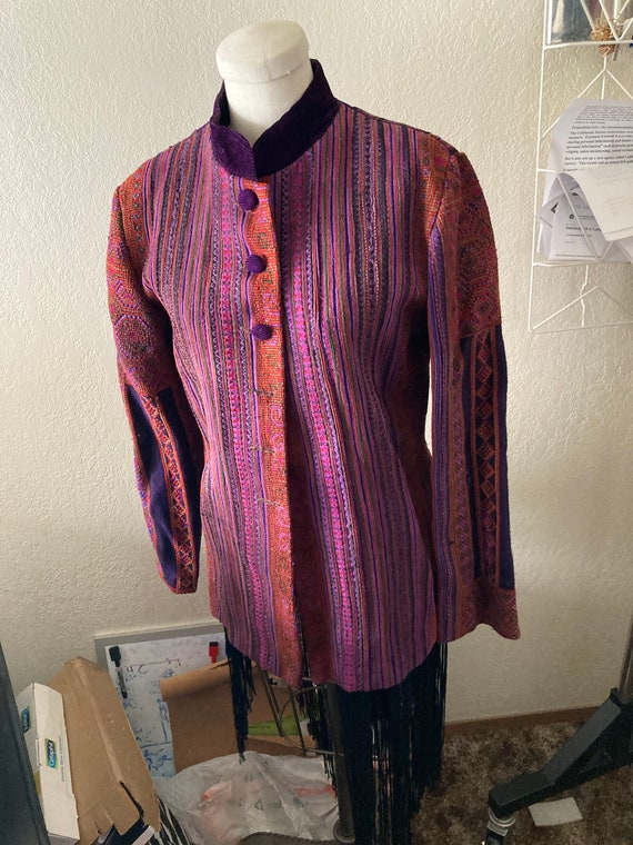 Purple Patchwork Coat Handmade in Vietnam