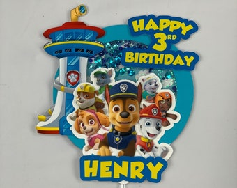 Paw Patrol Cake Topper with Personalization (ADD NAME/AGE)