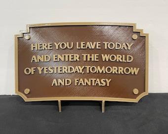 3D printed replica Disneyland entrance plaque