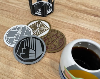3D Printed Galaxy Edge Savi Workshop Scrap Metal Coaster Set