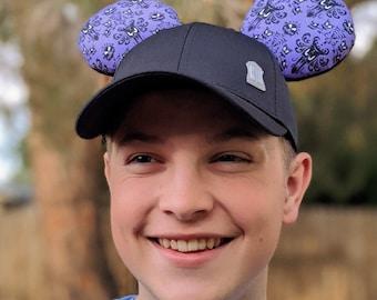 Haunted Mansion Wallpaper Baseball Cap Ears   Disney Hat   Disney Ear Hat